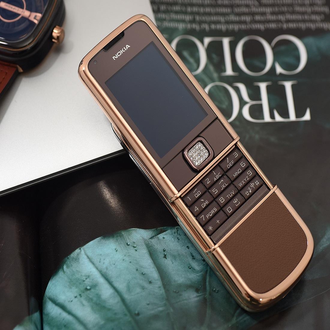 Nokia 8800 vàng hồng da nâu đá viền