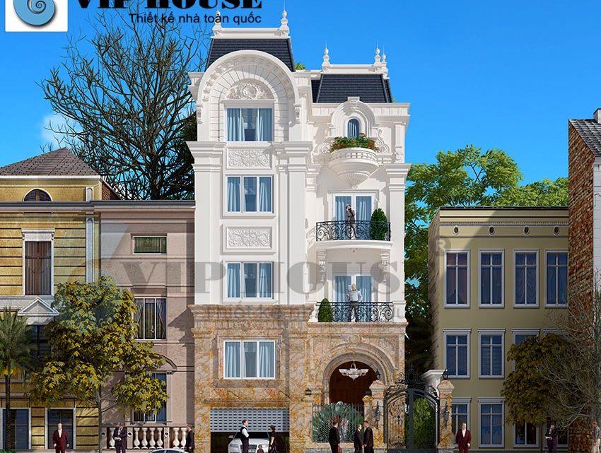 Thiết kế nhà phố 4 tầng phong cách tân cổ điển Pháp
