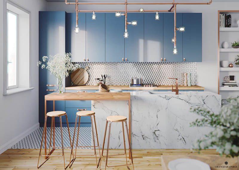 Tông màu xanh dương cho không gian bếp sự lãng mạn