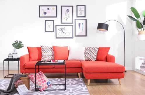 Sofa nỉ hiện đại màu đỏ nổi bật