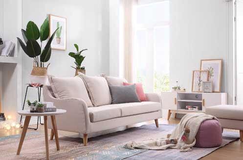 Sofa nỉ hiện đại tone màu kem
