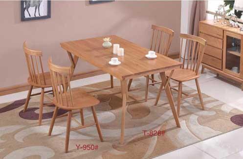 Bàn ghế ăn nhà hàng gỗ sồi thiết kế 4 ghế