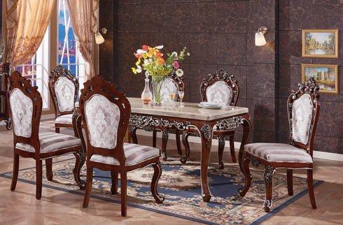 Bộ bàn ăn 6 ghế gỗ sồi phong cách hoàng gia